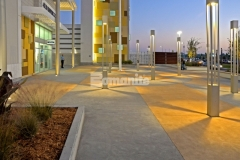 Over 132,000 SF of decorative concrete paving was created at the Tanger Outlets Daytona and the incorporation of Bomanite Integral Color resulted in this two-tone checkerboard pattern that resembles a racetrack infield, providing coloration that will remain the same throughout as the concrete wears.