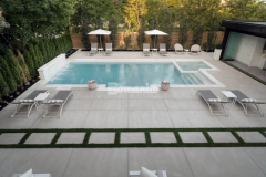 Specialized concrete mix designs and advanced application procedures are utilized in the Bomanite Sandscape Refined System to create a distinct and durable architectural finish that showcases the fine aggregates, which was the perfect choice to create the hardscape surfaces in this outdoor living space.