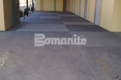 Featured here is Bomanite Sandscape Texture Exposed Aggregate that was placed by our associate Bomanite of Tulsa with several different colors of gray Bomanite Con-Color and the finished result is a beautiful and artistic decorative concrete hardscape outside of the Tulsa County Family Center for Juvenile Justice.