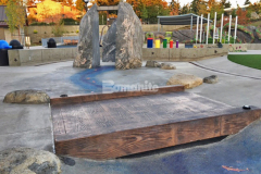 This interactive play area in Downtown Bellevue Park features a stamped concrete bridge that was installed by our associate Belarde Company using Bomanite Imprint Systems and the Bomacron 12-inch Boardwalk pattern to create a distinct playground feature with unique detail and design.