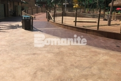 Featured here is Bomanite Bomacron Regular Slate stamped concrete that was installed here to create a durable decking surface around this water feature at Canobie Lake Park and adds texture and dimension to the hardscape while providing distinctively beautiful detail.