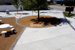 Bomanite Bomacron Sandstone Texture stamped concrete featuring a beautiful Cobblestone Gray color was installed here to create accent paving with definition and delineation and was a great choice to complement the overall design aesthetic at Owasso's Redbud Festival Park.