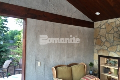 The Bomanite Bomacron Boardwalk pattern was stamped over a Bomanite Thin-Set overlay that was installed vertically to create these cabana walls and add character and warmth to this space.