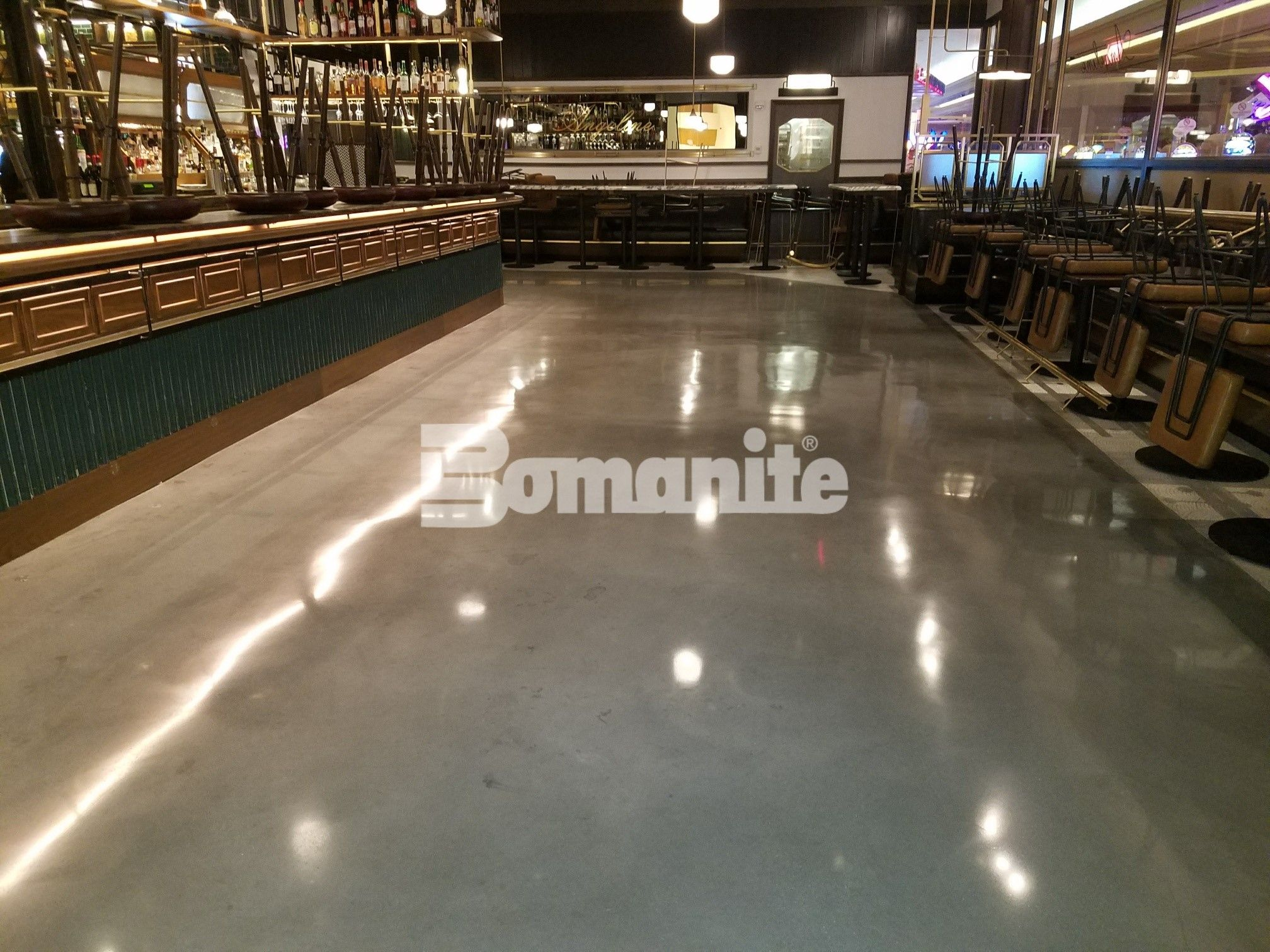 Featuring an unobstructed view of the gorgeous flooring at Angeline by Michael Symon located in the Borgata Hotel Casino and Spa in Atlantic City using Bomanite Decorative Concrete Bomanite Modena SL Custom Polished Concrete Floors installed by Beyond Concrete from Keyport, NJ for a Hi-End Iron Chef Restaurant.