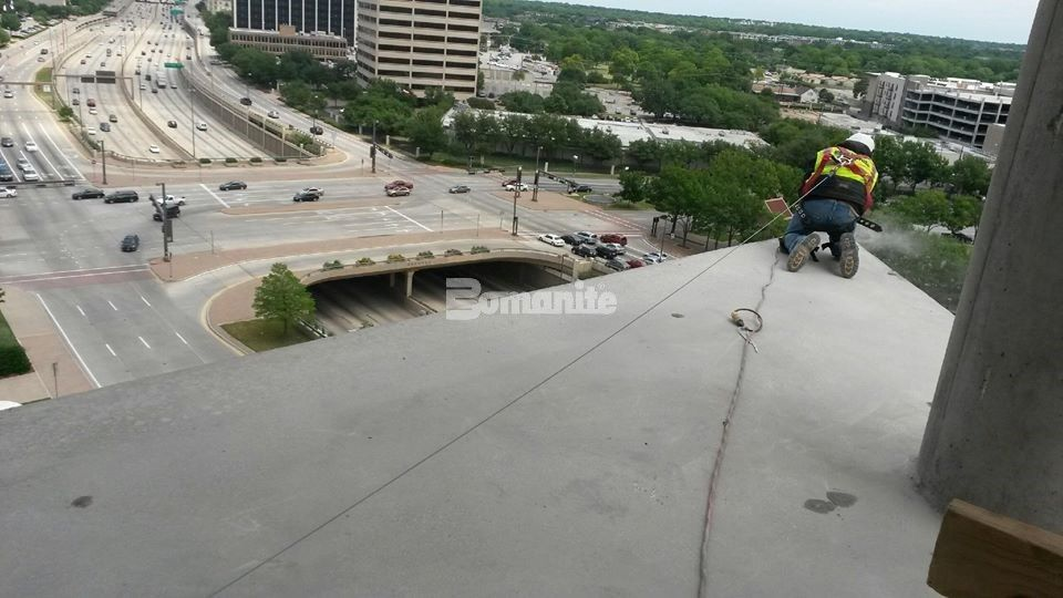 Polishing to the Edge has new meaning on floors 11-18 where Texas Bomanite, Dallas TX, installed decorative concrete consisting of the Bomanite Custom Polishing VitraFlor System for The Richards Group new office building.